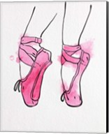 Ballet Shoes En Pointe Pink Watercolor Part I Fine-Art Print
