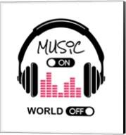Music On, World Off Headphones White Background Fine-Art Print