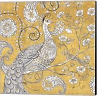 Color my World Ornate Peacock I Gold Fine-Art Print