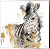 Water Zebra With Gold Fine-Art Print