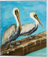 Two Pelicans on Dock Rail Fine-Art Print