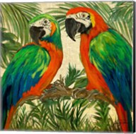 Island Birds Square on Burlap I Fine-Art Print