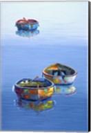 3 Boats Blue Vertical Fine-Art Print