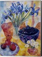 Irises & Dish Of Apples Fine-Art Print