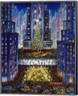 Rockefeller Center 2 Blue Fine-Art Print