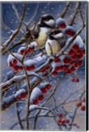 Winter Chickadees And Berries Fine-Art Print