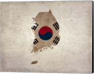 Map with Flag Overlay South Korea Fine-Art Print