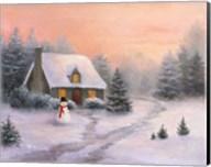 Snowman Cottage Fine-Art Print