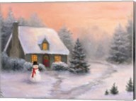Snowman Cottage Fine-Art Print