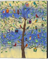Bird and Bird Houses on Tree Fine-Art Print