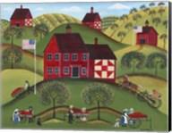 Primitive Americana Red Apple Barn Fine-Art Print