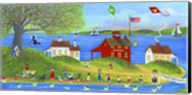 Rubber Dickie Race At Little Red School House Folk Art Fine-Art Print