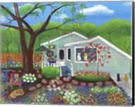 Cats and Dog at Garden Folk Art House Fine-Art Print