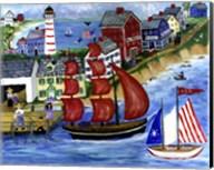 Red Sails Folk Art Seaside Fine-Art Print