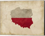 Map with Flag Overlay Poland Fine-Art Print