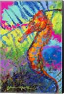 Miniature Majesty of the Ocean - Orange Caribbean Longsnout Seahorse Fine-Art Print
