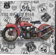 Vintage Motorcycles on Route 66-W Fine-Art Print