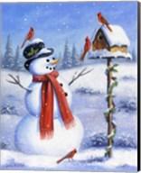 Snowman & Cardinals Fine-Art Print