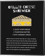 Grilled Cheese Sandwich Recipe Black Fine-Art Print