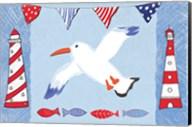 Coastal Bird III Blue Fine-Art Print