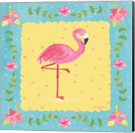 Flamingo Dance I Sq Border Fine-Art Print