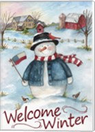 Snowman Farm Scene Welcome Winter Fine-Art Print