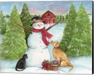 Snowman Dog And Cat Farm Horizontal Fine-Art Print