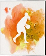Basketball Girl Watercolor Silhouette Inverted Part III Fine-Art Print