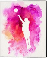 Basketball Girl Watercolor Silhouette Inverted Part IV Fine-Art Print