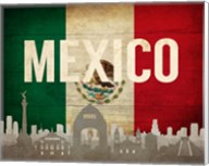 Mexico City, Mexico - Flags and Skyline Fine-Art Print