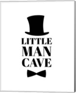 Little Man Cave Top Hat and Bow Tie - White Fine-Art Print