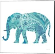 Boho Teal Elephant II Fine-Art Print