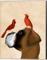 Boxer and Red Cardinals Fine-Art Print