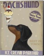 Dachshund, Black and Tan, Ice Cream Fine-Art Print