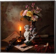 Still Life With Bust And Flowers Fine-Art Print