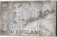 New England Map White Fine-Art Print