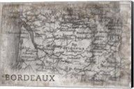 Bordeaux Map White Fine-Art Print