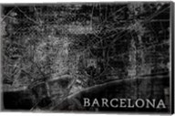 Map Barcelona Black Fine-Art Print