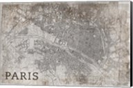 Map Paris White Fine-Art Print