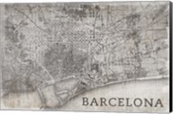 Map Barcelona Beige Fine-Art Print