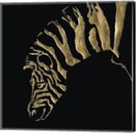 Gilded Zebra on Black Fine-Art Print