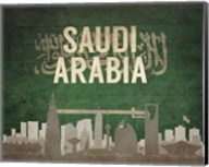 Riyadh, Saudi Arabia - Flags and Skyline Fine-Art Print