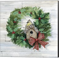 Holiday Wreath III on Wood Fine-Art Print