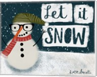 Let It Snow Hipster Snowman Fine-Art Print