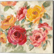Brushy Roses Crop with Teal Fine-Art Print