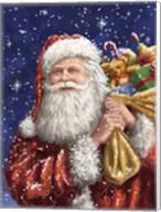 Santa with his sack on Blue Fine-Art Print