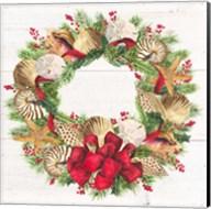 Christmas by the Sea Wreath square Fine-Art Print