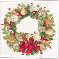 Christmas by the Sea Wreath square Fine-Art Print