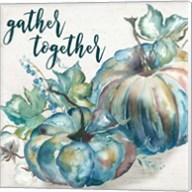 Blue Watercolor Harvest  Square Gather Together Fine-Art Print