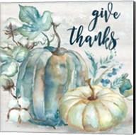 Blue Watercolor Harvest Square Give Thanks Fine-Art Print